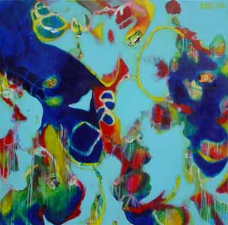 "The Lotus Feet_Fireland, 61"" x 61"" (155 x 155 cm), Mixed Media/Canvas, 2004"