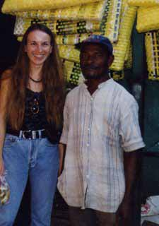 With Don Martin, traditional healer, at the market of San Pedro de Macoris, Dominican Repubic, 1999